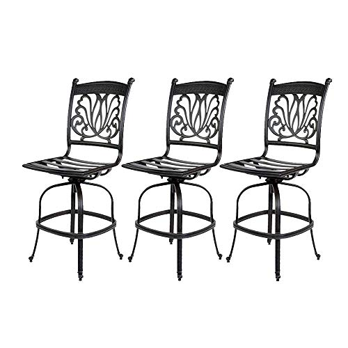 Cast Aluminum Bar stool Armless Ariana Outdoor Patio with Seat Cushion set of 3 - Desert Bronze (Ariana Furniture Outdoor)
