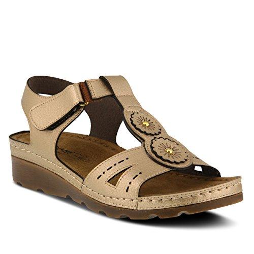 Flexus Womens Stil Silas Guld Euro Storlek 41 Syntetisk Sandal