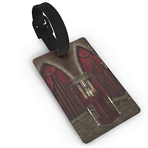 Baggage Tag Gothic,Mysterious Dark Room in Castle Ancient Pillars Candles Spiritual Atmosphere Pattern,Red Black Label Tag Address Holder