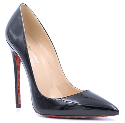 Pointed Black On Or Pumps Patent Stiletto Slip 12cm Court uBeauty Heels Womens Suede Toe Work High Shoes Leather wRxztqT