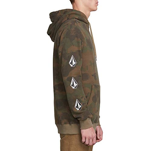 Volcom Men's Deadly Stone Pullover Hooded Fleece Sweatshirt, Camouflage, Large