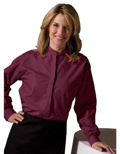 Edwards Garment Women's Long Sleeve Banded Collar Shirt_BURGUNDY_XX-Small (Collar Women Banded Shirts For)