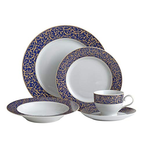 - Mikasa Parchment Cobalt 40 Piece Dinnerware Set, Service for 8