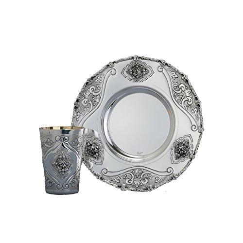 Hazorfim Engraved Floral Silver Kiddush Cup Set Sterling silver 925 kiddush cup saucer plate wine shabbat Shabbos bar mitzva wedding gift handmade Israel Judaica by Hazorfim