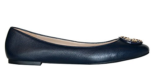 Tory Burch Women's Claire Ballet Flat Leather Shoes Bright Navy (9.5) - Tory Burch Ballerina Flats