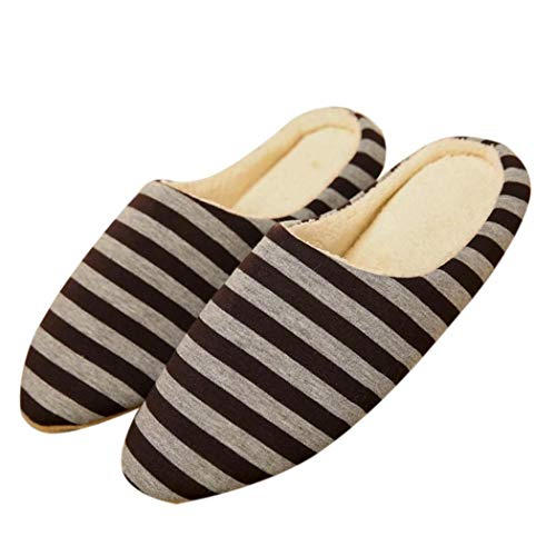 Casual Bulges Coffee Unisex Pattern Stripe Cotton Flat Slippers TA4q5R
