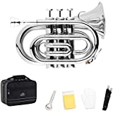 EastRock Pocket Trumpet Brass Nickel Plated Bb Pocket Trumpet for Beginners,Students or Intermediate Players with Standard 7C Trumpet Mouthpiece,Hard Case,Strap,White Gloves&Cleaning Cloth