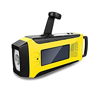 Esky ES-CR03 Emergency AM/ FM/ NOAA Radio | Hand Crank Solar Radio and Powerbank with 2000mAh Rechargeable Battery,3W Flashlight and loudly Alarm(Yellow)