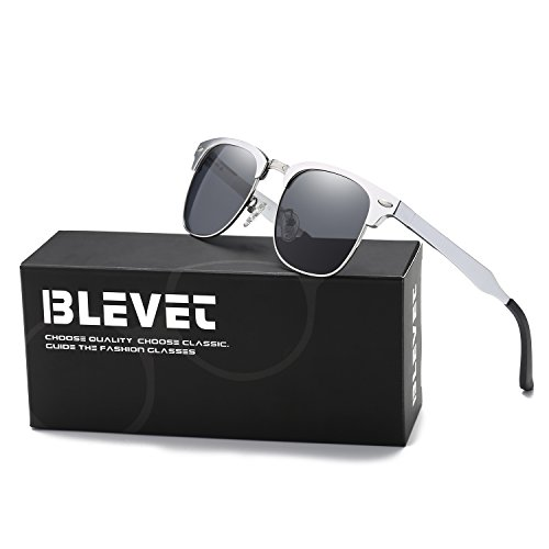BLEVET Clubmaster Polarized Retro Sun Glasses Classic Metal Al-Mg Semi-rimless Driving All-match Sunglasses Men Women Eyewear(Silver Frame, - Frame Silver Clubmaster