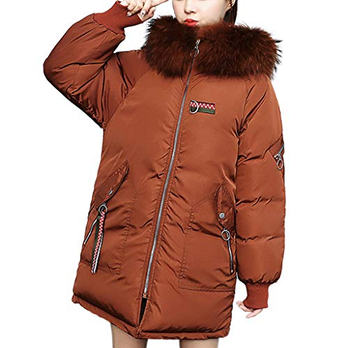 CUCUHAM Women Winter Warm Coat Faux Fur Hooded Thick Warm Slim Jacket Long Overcoat(A2-Brown,XX-Large)