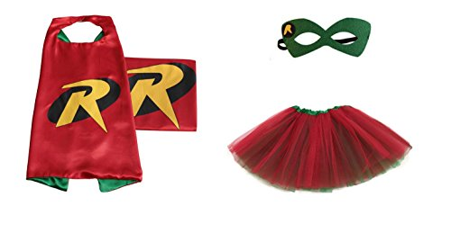 [Rush Dance Kids Children's Deluxe Comics Super Hero CAPE & MASK & TUTU Costume (Robin (Red Kelly Green Reverse] (Batman And Robin Movie Costumes)