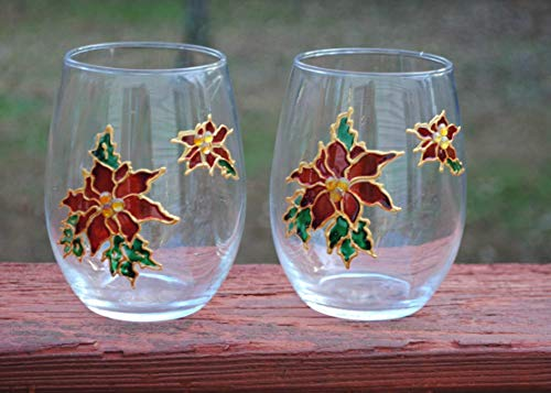 2 Red Poinsettia Hand Painted Stemless Wine Glasses -