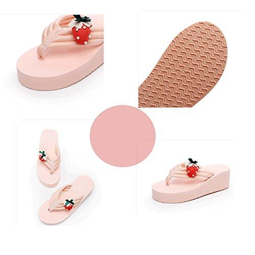 bianco Scarpe Sandali nero Le Moda Pantofole rosa Bianca Haizhen Alto colore Da Donna Per Estivi Di Con Tacco 38 Femminili Dimensioni Rosa Spiaggia Donne wZ5q5I