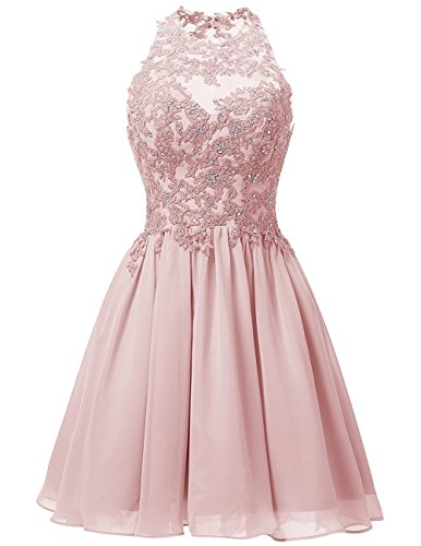Cdress Short Homecoming Dresses Chiffon Appliques Bodice Junior Prom Dress Cocktail Gowns Blush US 4