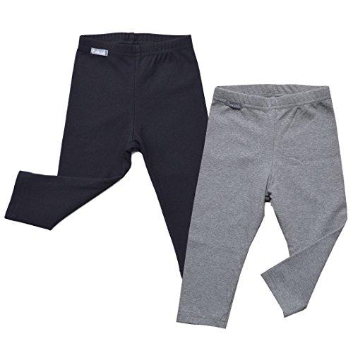 Warm Cozy Unisex Baby Toddler Kids Fall Leggings (2-Pack: Black/Gray -3T) ()