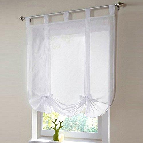 Runbu Rod Pocket Lifting Rome Window Kitchen Bathroom Curtain Screens Bow-knot White&80*140cm (White Bathroom Window Curtains compare prices)