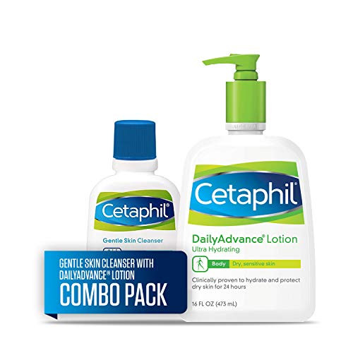 Cetaphil DailyAdvance Ultra Hydrating Body Lotion, Two 16-oz. Bottles, plus 2-oz. Gentle Skin Cleanser, Sensitive Skin (Combo Pack)