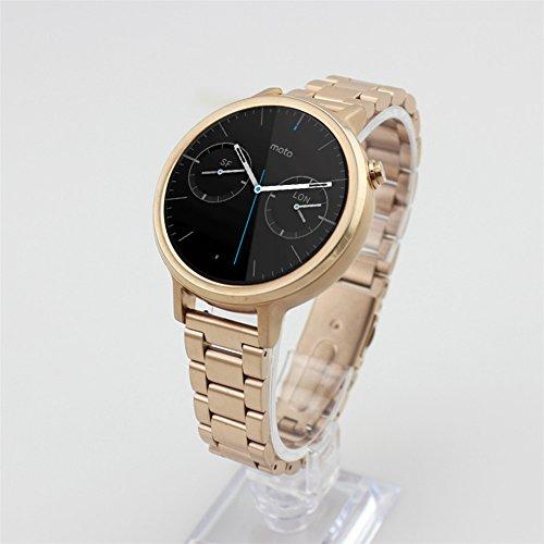 Moto 360 2 Watch Replacement Band (2nd Gen, 42mm 2015 WOMEN'S 16MM), DAYJOY Premium Stainless Steel Watch Strap Adjustbable Bracelet Band for Motorola Moto 360 2 42mm Smart Watch(ROSE GOLD)
