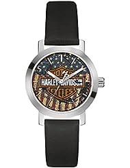 Harley-Davidson Womens Bulova Watch, American Flag Bar & Shield 76L174