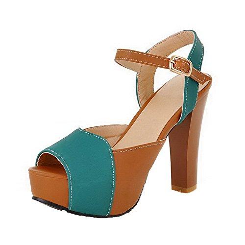 Sandals Assorted Heels Open 12cm High Womens Buckle Color AalarDom Toe PU Green ZOzazq