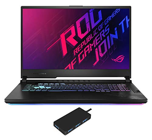 "ASUS ROG Strix G17 G712LW Gaming and Entertainment Laptop (Intel i7-10750H 6-Core, 64GB RAM, 2x1TB PCIe SSD RAID 0 (2TB), NVIDIA RTX 2070, 17.3"" Full HD (1920x1080), WiFi, Win 10 Pro) with USB Hub"