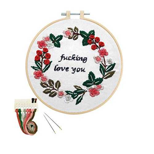 Louise Maelys Beginner Embroidery Kit Flower Cross Stitch Full Range DIY Embroidery Kit with Pattern Stamped Funny Saying for Starter