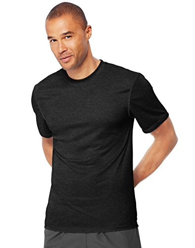 Hanes Men's Sport Performance Tee, Black Heather, Large