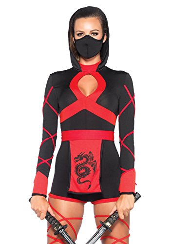 Leg Avenue Women's 3 Piece Dragon Ninja Costume, Black/Red, Medium -
