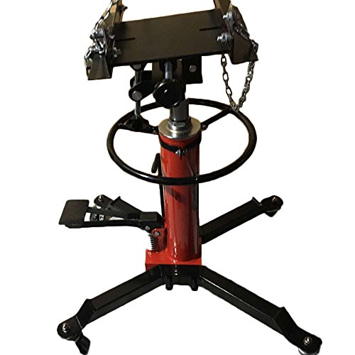 MILLION PARTS 1500LB Stage Hydraulic Telescoping Transmission Jack High Lift Adjustable Height with Pedal 360° Swivel Wheel Lift Hoist Red