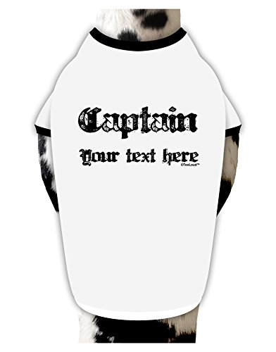 [TooLoud Personalized Captain Cotton Dog Shirt White with Black XL] (Somali Pirate Costume)