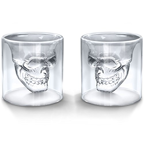 Creative Skull Design Crystal Transparent Glass Cup 2.5 Ounces , Set of 2