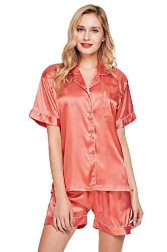 (TONY AND CANDICE Women's Satin Sleepwear Short Sleeve Pajamas Set Button Down Nightwear (X-Large, Living Coral))