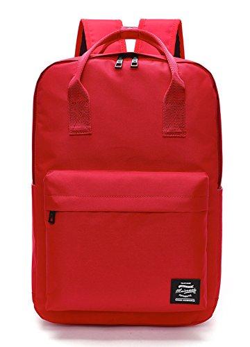 Pulama Solid Color Backpack Top Handle School Bag Canvas Shoulders Bag Red