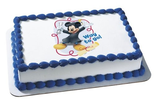 Mickey Mouse Graduate Way To Go Personalized Edible Cake Image Topper