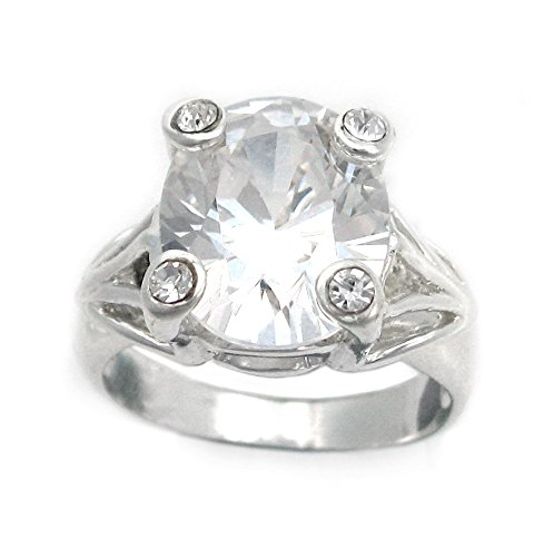 Sterling Silver Four Points Crystal Prongs Cocktail Ring, Clear, Size 7 (Sterling Silver Four Point)