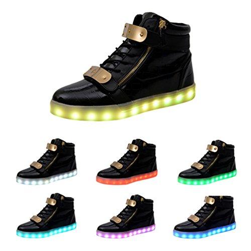 Scarpa Da Uomo Alta Visibilità Ricarica Usb Lampo Led Scarpe Sneakers Nere Lampeggianti