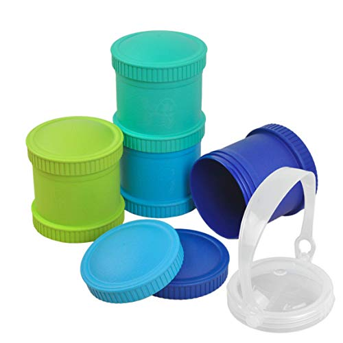 - Re-Play Made in The USA 9 Piece Stackable Food and Snack Storage Containers for Babies, Toddlers and Kids of All Ages - Sky Blue, Aqua, Lime Green, Navy Blue (Under The Sea+)