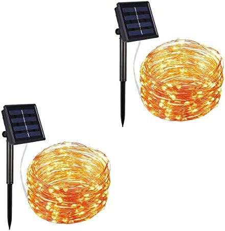 Solar string lights, 33 feet 100 LED copper lights 2 sets of 200LED indoor and outdoor waterproof decorative lights, 8 kinds of changing functions, suitable for garden, home, dance, party, wedding,