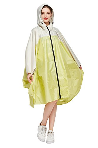 (Women's Stylish Polyester Waterproof Rain Poncho Free Size with Hood Zipper Colorful Rain Coat (Yellow Beige))