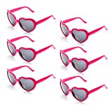 6 Neon Colors Heart Shape Party Favors Sunglasses, Multi Packs (6-Pack Hot Pink)