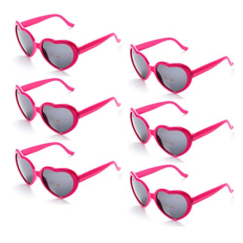 6 Neon Colors Heart Shape Party Favors Sunglasses, Multi Packs (6-Pack Hot Pink) (Corporate Party Decorations)