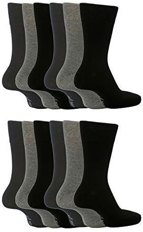 Sock Snob 6 paia uomo 100 cotone fino calze senza elastico in nero e beige