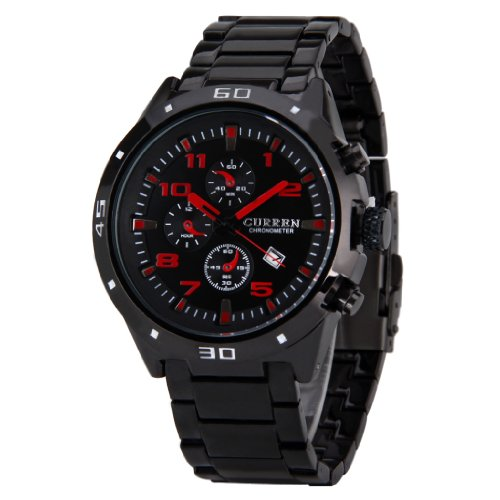Wmicro Fashion Curren Water Resistant Chronometer Sport Wristwatch Watch With Calendar Red Dial Black Color