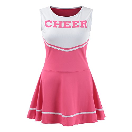 OurLore Women's Musical Uniform Fancy Dress Cheerleader Costume Outfit (Pink) -