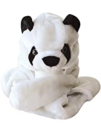 Plush Faux Fur Animal Critter Hat Cap - Soft Warm Winter Headwear - Short with Ear Poms and Flaps & Long with Scarf and Mittens available (Panda - 3pc Scarf & Mittens)