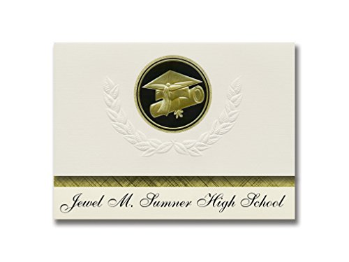 Signature Announcements Jewel M. Sumner High School (Kentwood, LA) Graduation Announcements, Presidential style, Elite package of 25 Cap & Diploma Seal. Black & Gold. - Presidential Jewel