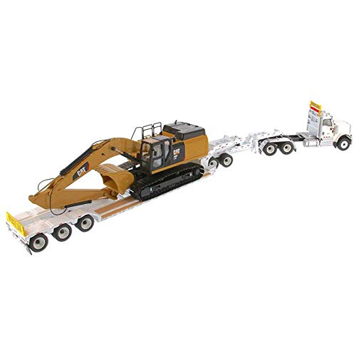 International HX520 Tandem Tractor White with XL 120 Lowboy Trailer and CAT Caterpillar 349F L XE Hydraulic Excavator Set of 2 Pieces 1/50 Diecast Models by Diecast Masters 85600 by Diecast Masters (Image #2)