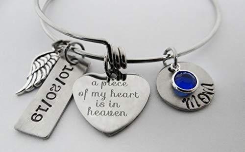 A Piece of My Heart is in Heaven Bracelet, Name and Date Bracelet, Personalized Memorial Bracelet, Angel Wing Bracelet (3 Piece Best Friend Bracelets)