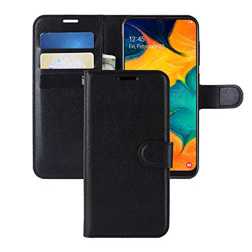 Galaxy A30 Case,Galaxy A20 Case,CH-IC Protective Shockproof PU Leather Wallet Flip Folio Cover with Kickstand Card Holders Magnetic Closure for Samsung Galaxy A30/A20 (Black)