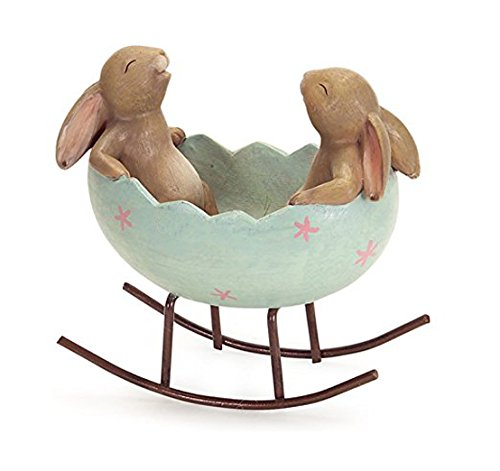 (Laughing Bunny Rabbits Rocking in an Easter Egg Cradle Spring Easter Decoration Vintage Rustic Country Bunnies Rabbit Figurine Statue (Bunnies in a Cradle))